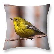 Warbler - Pine Warbler - Oh So Yellow Throw Pillow