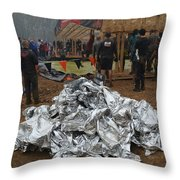 Warm Blankets Piled Throw Pillow