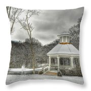 Warm Gazebo On A Cold Day Throw Pillow