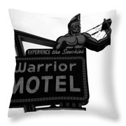 Warrior Motel Throw Pillow