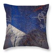Warrior Petroglyph Throw Pillow
