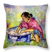 Washerwoman Beauty Throw Pillow