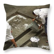 Washing At The Motherhouse Throw Pillow
