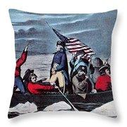 Washington Crossing The Delaware, 1776 Throw Pillow