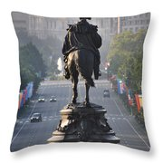 Washington Looking Down The Parkway - Philadelphia Throw Pillow by Bill Cannon