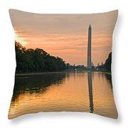 Washington Monument At Dawn Throw Pillow