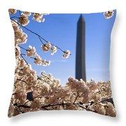 Washington Monument Cherry Trees Throw Pillow
