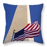 Washington Monument Flag Throw Pillow