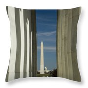 Washington Monument Framed By Lincoln Memorial Throw Pillow