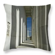 Washington Monument From Lincoln Memorial Throw Pillow