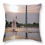 Washington Monument From The World War II Memorial Throw Pillow