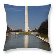 Washington Monument In Reflecting Pool Throw Pillow