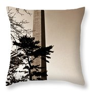 Washington Monument In Sepia Throw Pillow