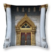 Wat Benchamabophit Ubosot Front Entrance Dthb1242 Throw Pillow