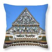 Wat Ratcha Orasaram Temple Gate And Ubosot Gable Dthb858 Throw Pillow