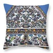 Wat Ratcha Orasaram Ubosot Gable Detail Dthb428 Throw Pillow
