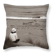 Watching The Ocean In Black And White Throw Pillow