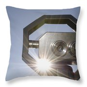 Watching The Sun With A Telescope Throw Pillow