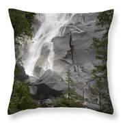 Water Cascading Down The Rock And Throw Pillow