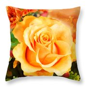 Water Color Yellow Rose With Orange Flower Accents Throw Pillow