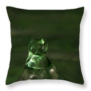 Water Drop Abstract Green 17 Throw Pillow