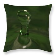 Water Drop Abstract Green 19 Throw Pillow