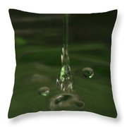 Water Drop Abstract Green 24 Throw Pillow