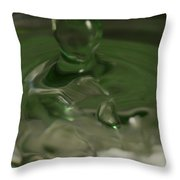 Water Drop Abstract Green 28 Throw Pillow