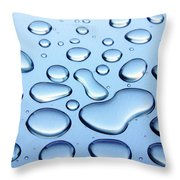 Water Drops Throw Pillow by Carlos Caetano