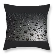 Water Drops On Black Metalica. Business Card. Invitation. Sympathy Note. Throw Pillow