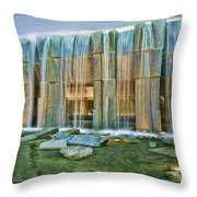 Water Fall Building Throw Pillow
