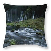 Water Falling And Flowing Over Rocks Throw Pillow