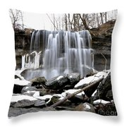 Water Falls At Rock Glen Throw Pillow