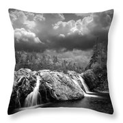 Water Falls At The Aquasabon River Mouth Throw Pillow