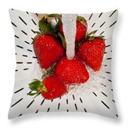 Water For Strawberries Throw Pillow