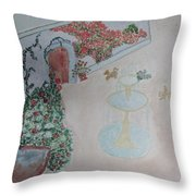 Water Fountain Amidst Garden Throw Pillow