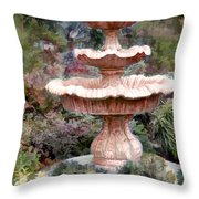 Water Fountain In  The Forest Throw Pillow