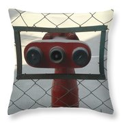 Water Hydrants Built Into A Wire Mesh Fence Throw Pillow