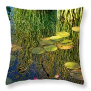 Water Lilies Reflection Throw Pillow
