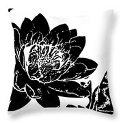Water Lily Black And White Throw Pillow