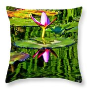 Water Lily Pond Garden Impressionistic Monet Style Throw Pillow