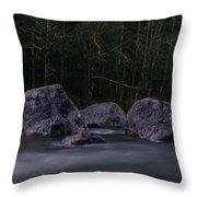 Water Moving Around Rock Throw Pillow