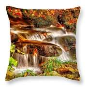 Water Over The Rocks Throw Pillow