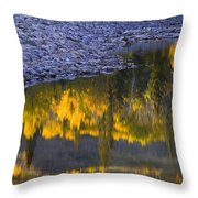Water Reflections With A Rocky Shoreline Throw Pillow