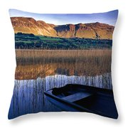 Water Reflections With Boat Throw Pillow