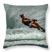 Water Skiing Magic Of Water 2 Throw Pillow by Bob Christopher
