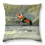 Water Skiing Magic Of Water 4 Throw Pillow by Bob Christopher