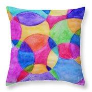 Watercolor Circles Abstract Throw Pillow
