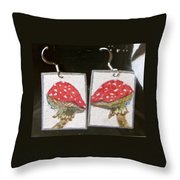 Watercolor Earrings Amanita Throw Pillow