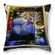 Watercolor Palette Throw Pillow